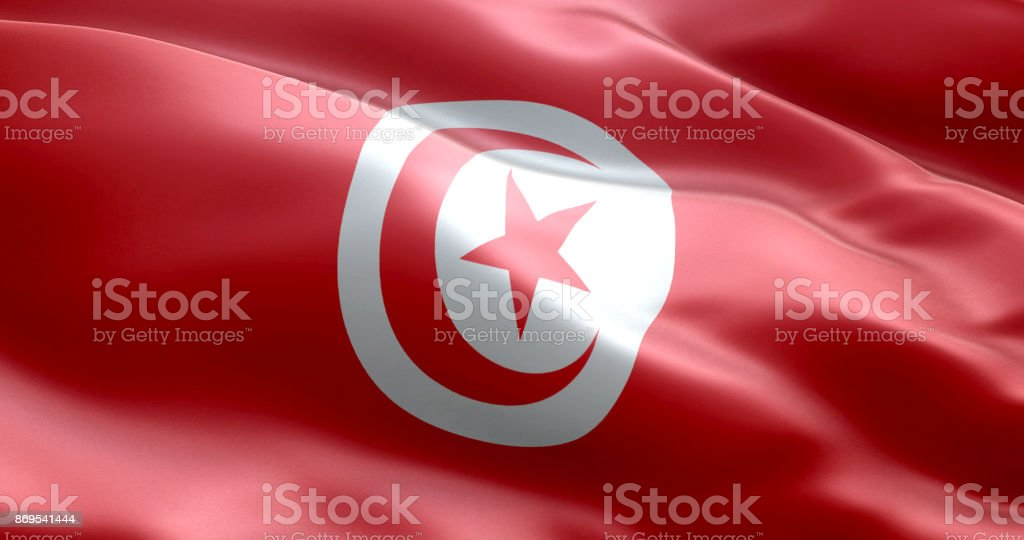 The flag of Tunisia stock photo