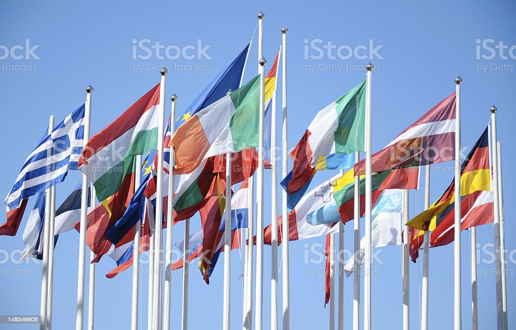 The flags of European Union Countries stock photo