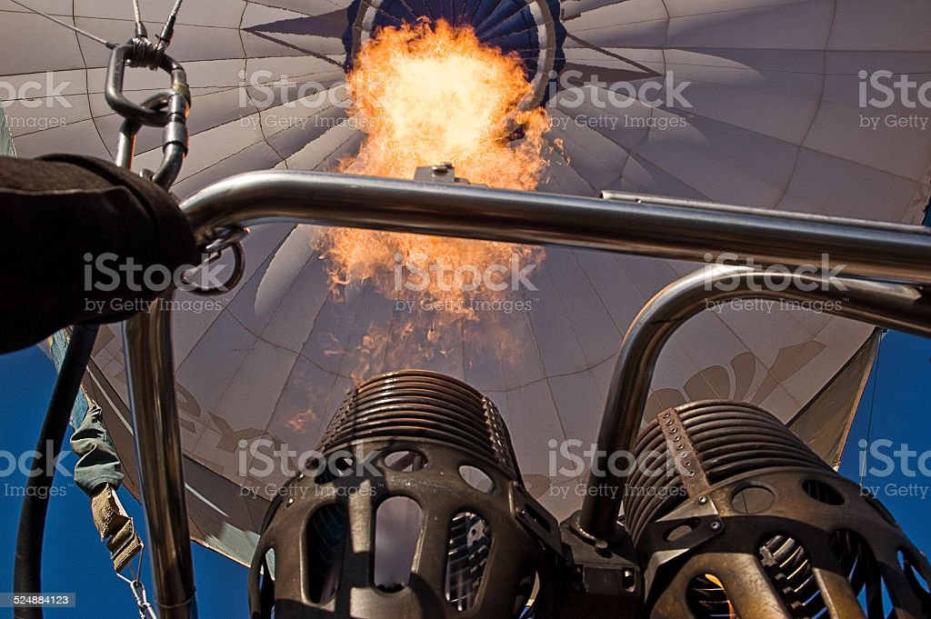 The flame of a hot air balloon stock photo