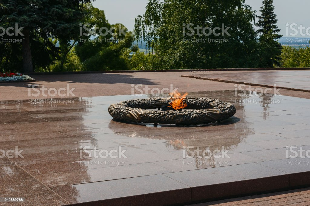 the flame of eternal fire - symbol of victory in World War II stock photo