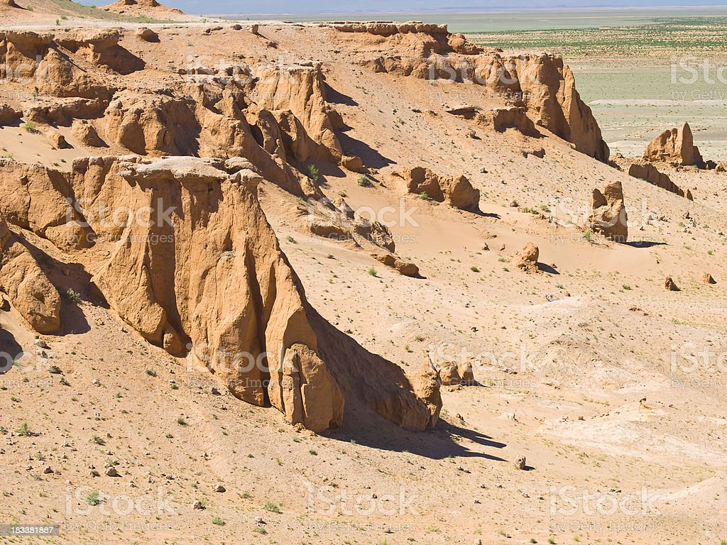 The flaming cliffs site in the Gobi Desert near Bayanzag royalty-free stock photo