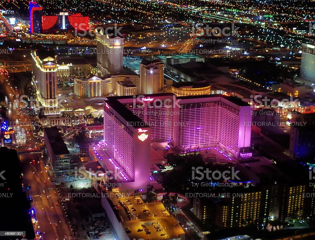 The Flamingo casino at night from above stock photo
