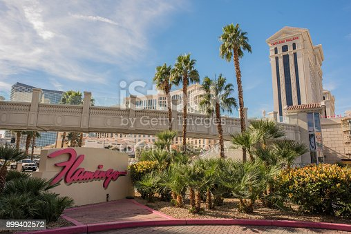 Las Vegas, Nevada, November 23, 2017: The sign for the famous Flamingo Hotel and Casino, a historic hotel on Las Vegas Boulevard. Palm trees and the Vegas skyline behind.