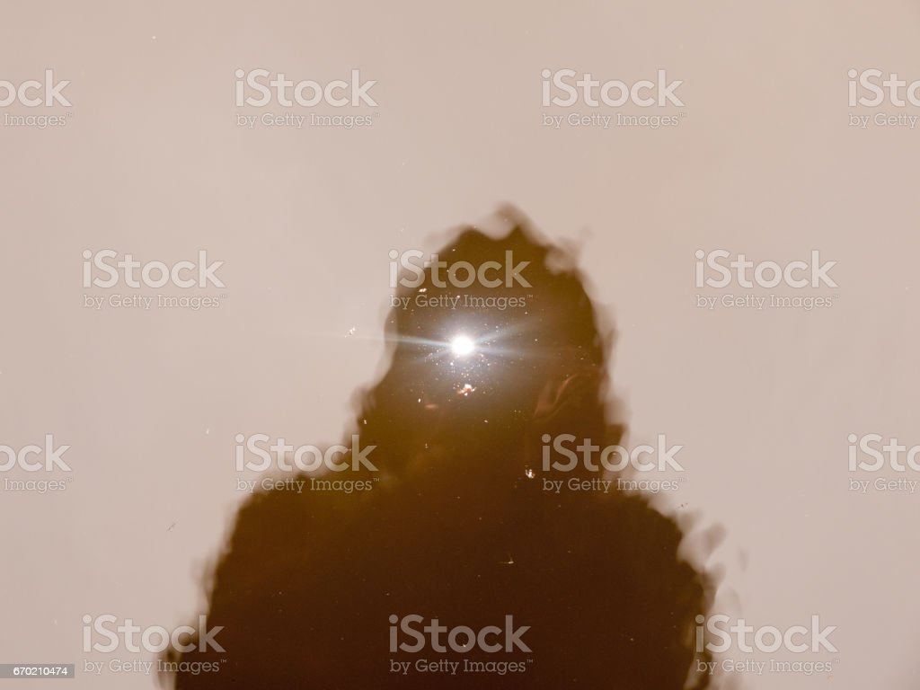 The Flash of A Camerman Reflected in the Lake Before them stock photo