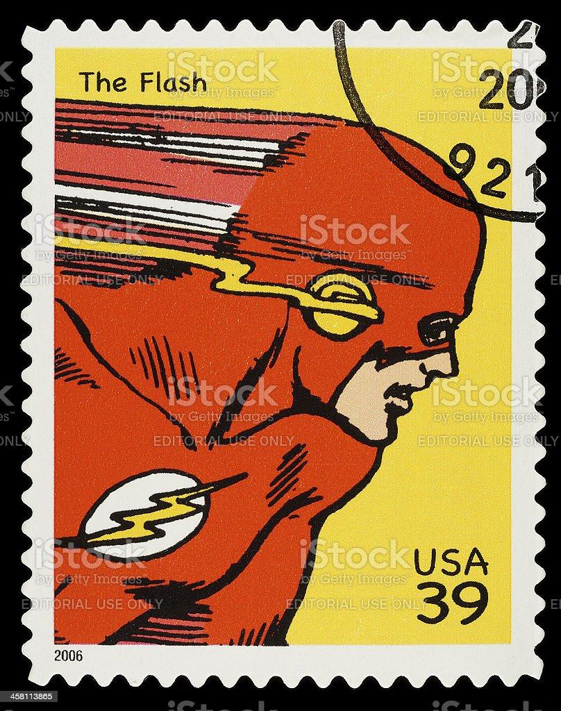 The Flash Superhero Postage Stamp stock photo