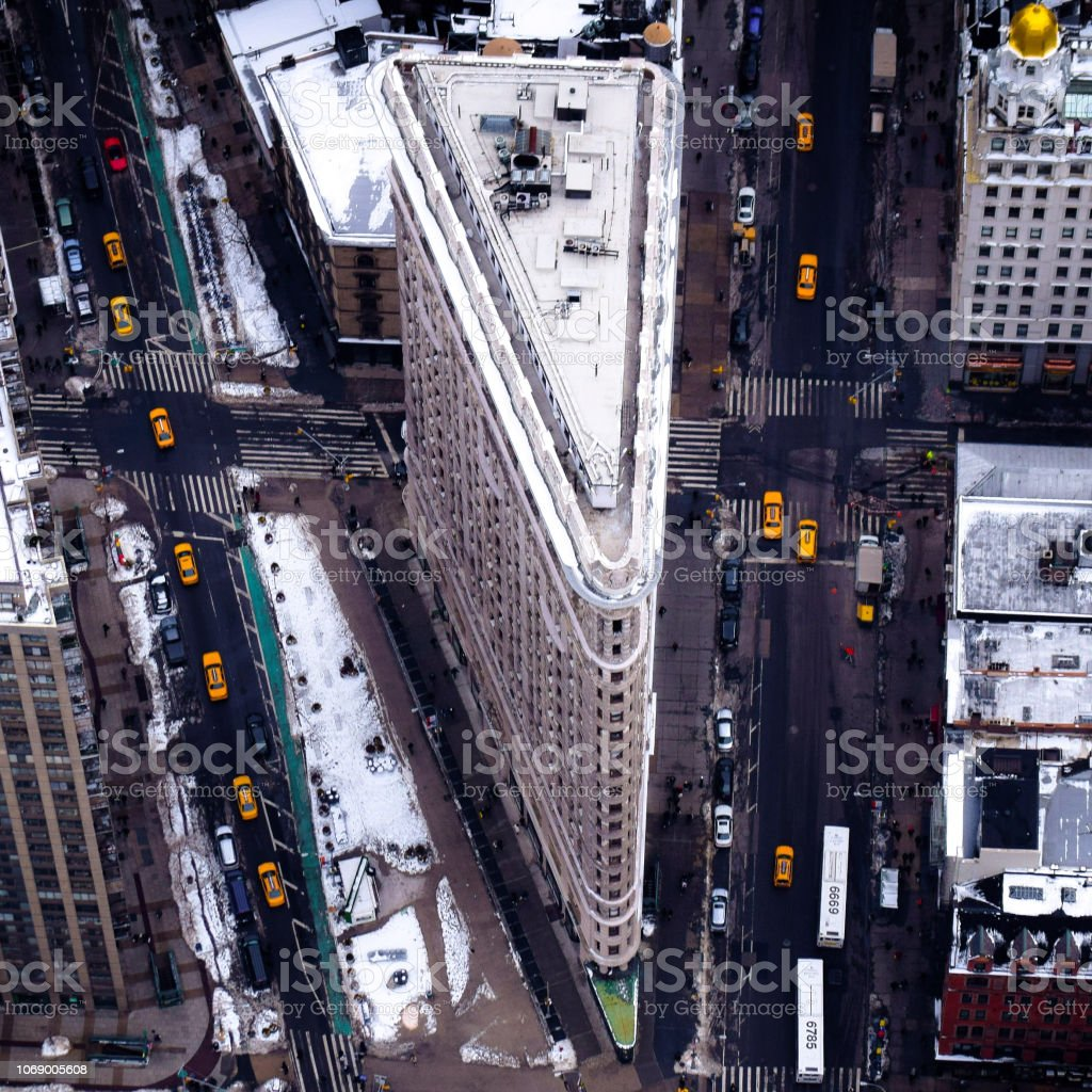The Flatiron Building on a Snowy Day stock photo