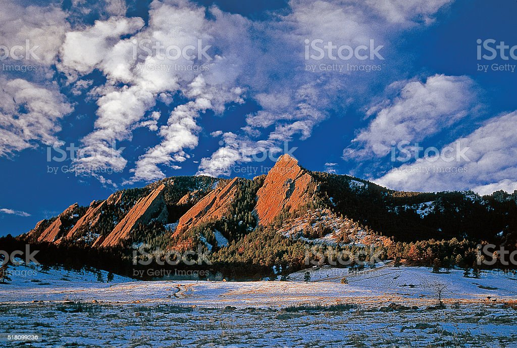 The Flatirons in Boulder Colorado stock photo