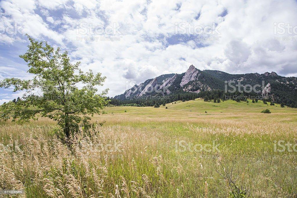 The Flatirons, near Boulder, Colorado stock photo