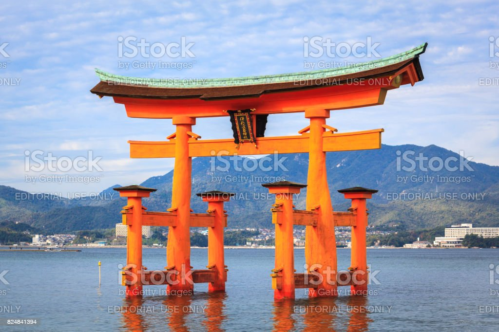 The floating Torii Gate, Miyajima island, Hiroshima, Japan stock photo