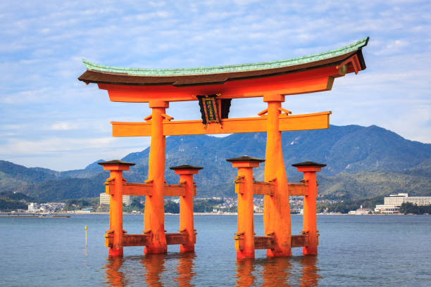 The floating Torii Gate, Miyajima island, Hiroshima, Japan Miyajima, Japan - November 6, 2014 : The great Torii, was built in 1875. miyajima stock pictures, royalty-free photos & images