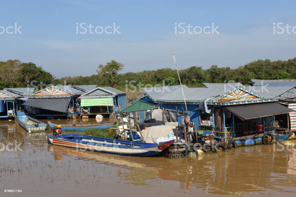 The floating village on the water of Tonle Sap lake stock photo