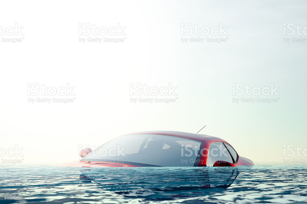 The Flood - Car floating in flood water stock photo