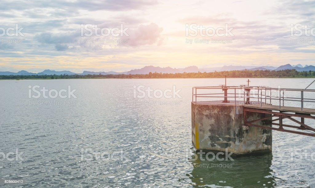The floodgates on a dam in a river from in Thailand. Floodgate construction. stock photo
