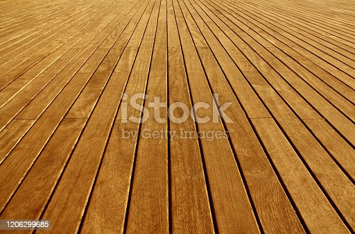 istock The floor is made of lacquered narrow boards of brown color.Texture or background 1206299685