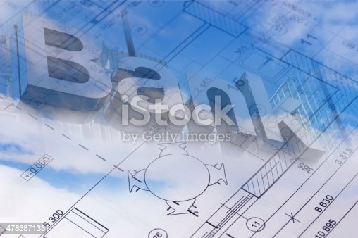 512113530 istock photo The floor plan of a house blueprint with bank sign 478387133