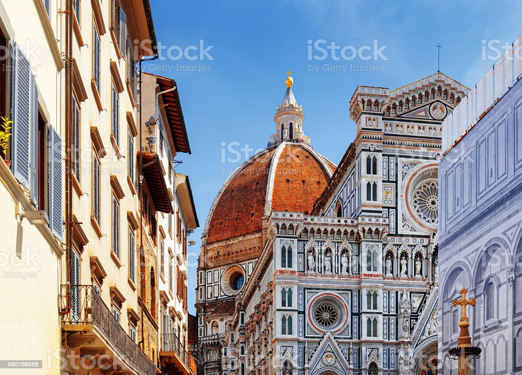The Florence Cathedral at historic center of Florence, Italy stock photo