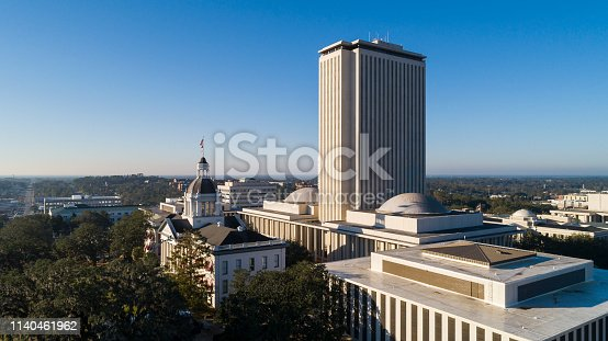 The Florida State Capitol, Tallahassee. Aerial drone shoot.