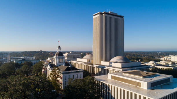The Florida State Capitol, Tallahassee. The Florida State Capitol, Tallahassee. Aerial drone shoot. capital cities stock pictures, royalty-free photos & images
