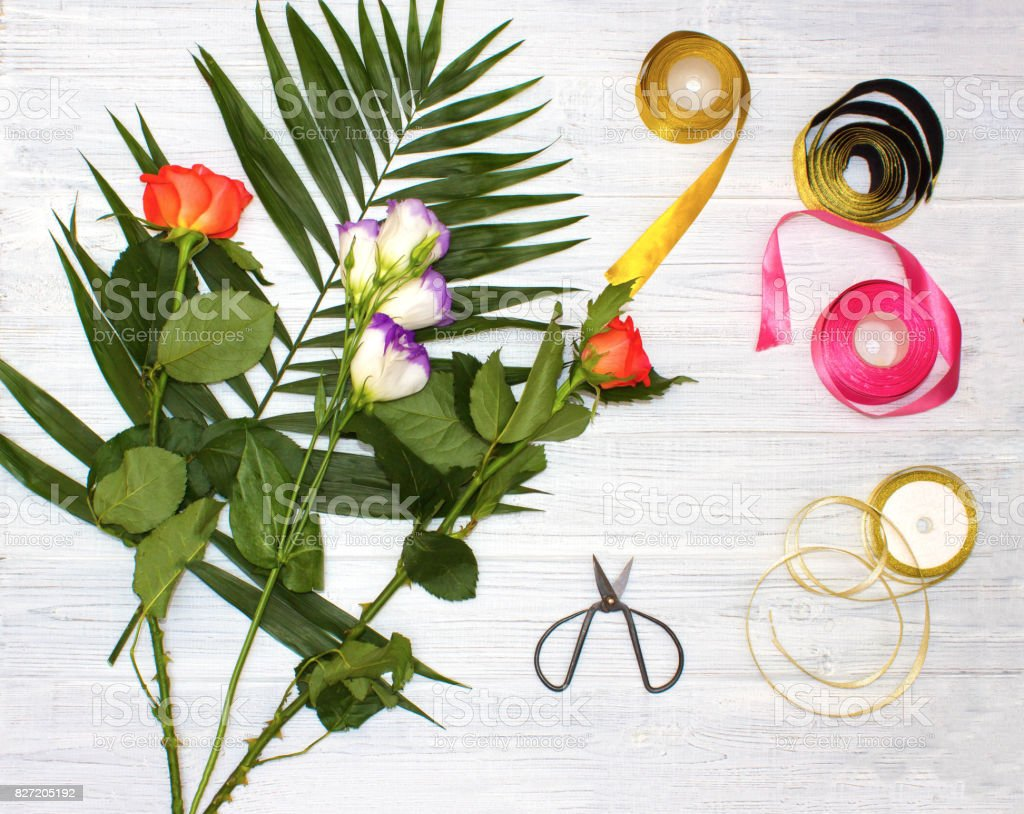 The Florist Desktop With Working Tools On Wooden Background Stock