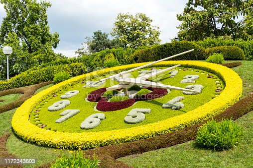 The flower clock in Geneva, Switzerland