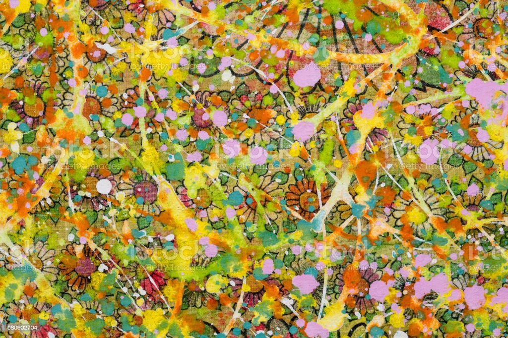 The flowery background sloppy with colourful  paint royalty-free stock photo