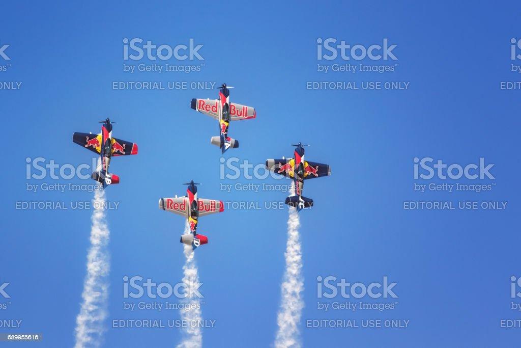 The Flying Bulls Aerobatic Team, Air Show SIAF 2016 International Air Fest, Sliac Airport, Slovakia stock photo