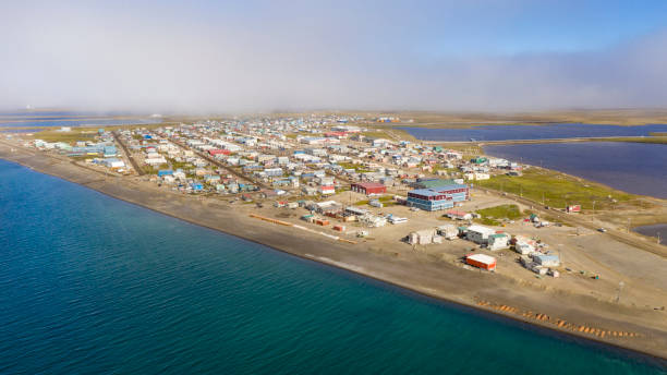 The Fog is lifting in Barrow Alaska now called Utqiagvik AK stock photo