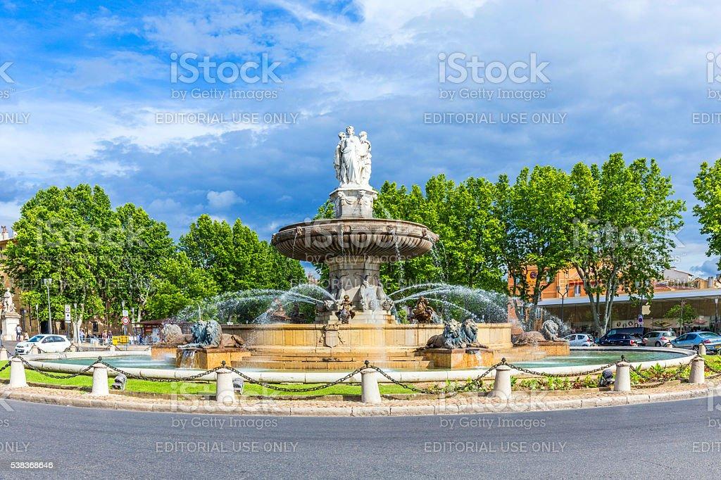 The Fontaine de la Rotonde fountain stock photo