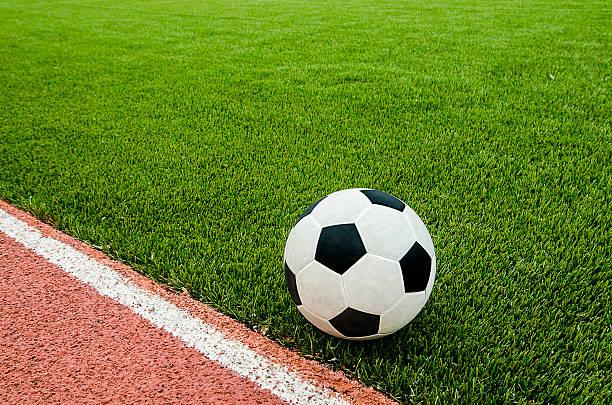 The football near line on the soccer stadium. stock photo