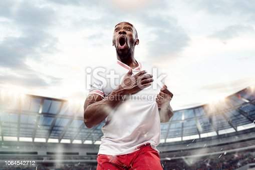 istock The football player in motion on the field of stadium 1064542712