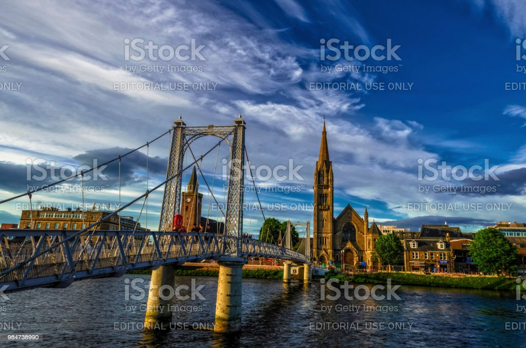 The Footbridge to The Chapel on river Ness in Inverness of Scotland creating a bridge between Huntly Street and Bank Street. stock photo