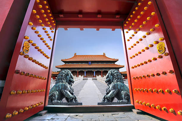 The Forbidden City in Beijing - China Red entrance gate opening to the forbidden city in Beijing - China forbidden city stock pictures, royalty-free photos & images