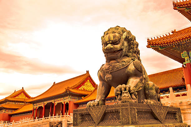 The Forbidden City in beijing,China The Forbidden City with sunset glow in beijing,China forbidden city stock pictures, royalty-free photos & images