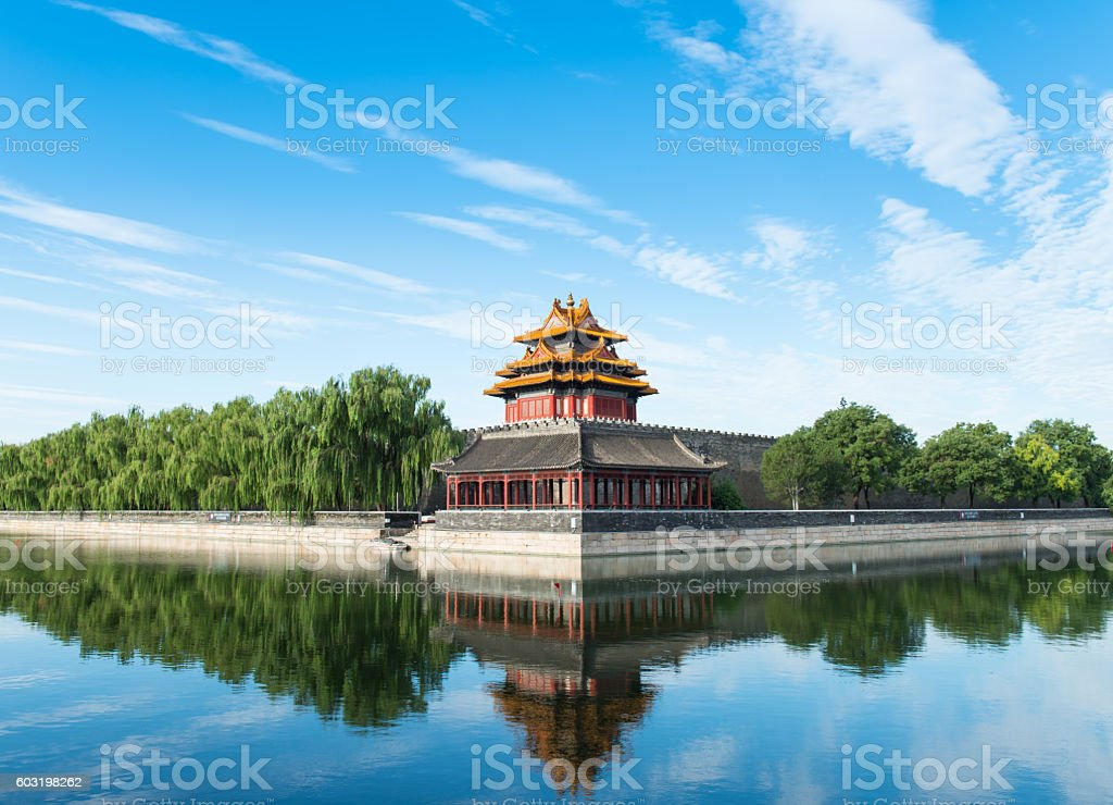 The Forbidden City turret,an exquisitely designed watch tower. stock photo