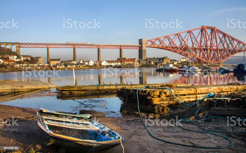 The Forth Rail Bridge seen from North Queensferry Fife harbour stock photo
