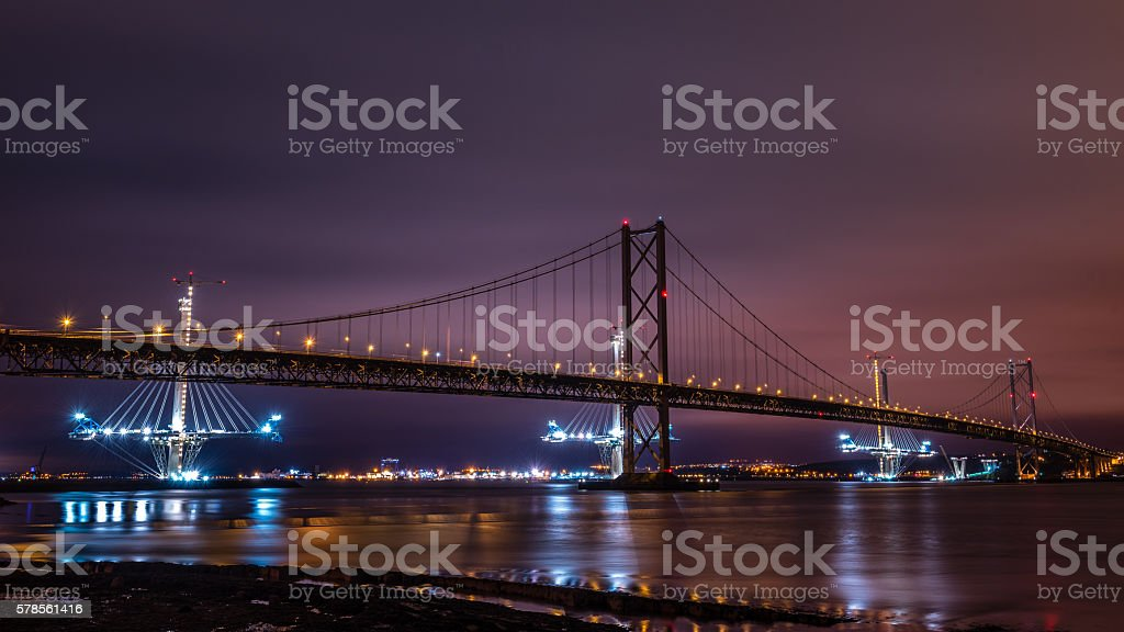 The Forth Road Bridges, Scotland stock photo