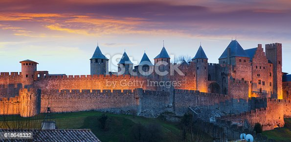 The fortified city in evening.  Carcassonne, France