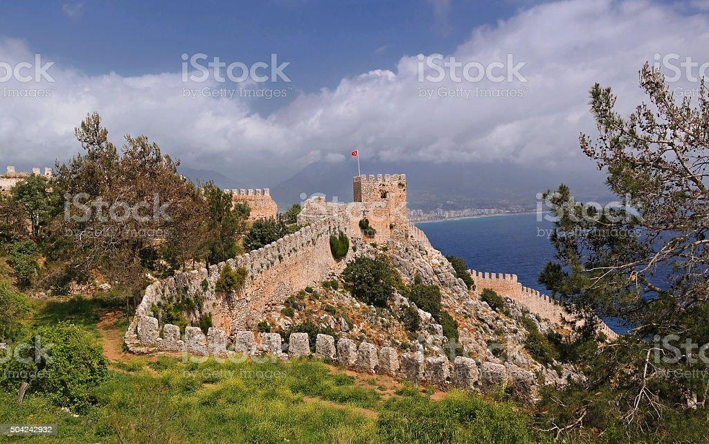 The fortress of Alanya in Turkey stok fotoğrafı