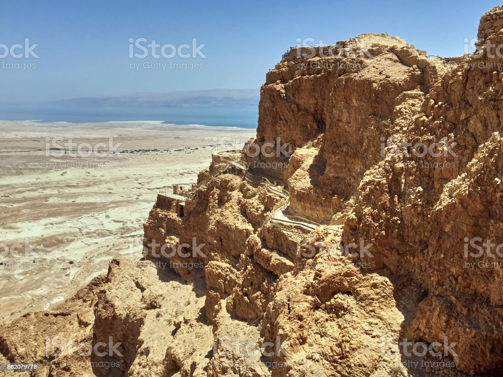 The Fortress of Masada in Israel, in the background is the Dead Sea stock photo