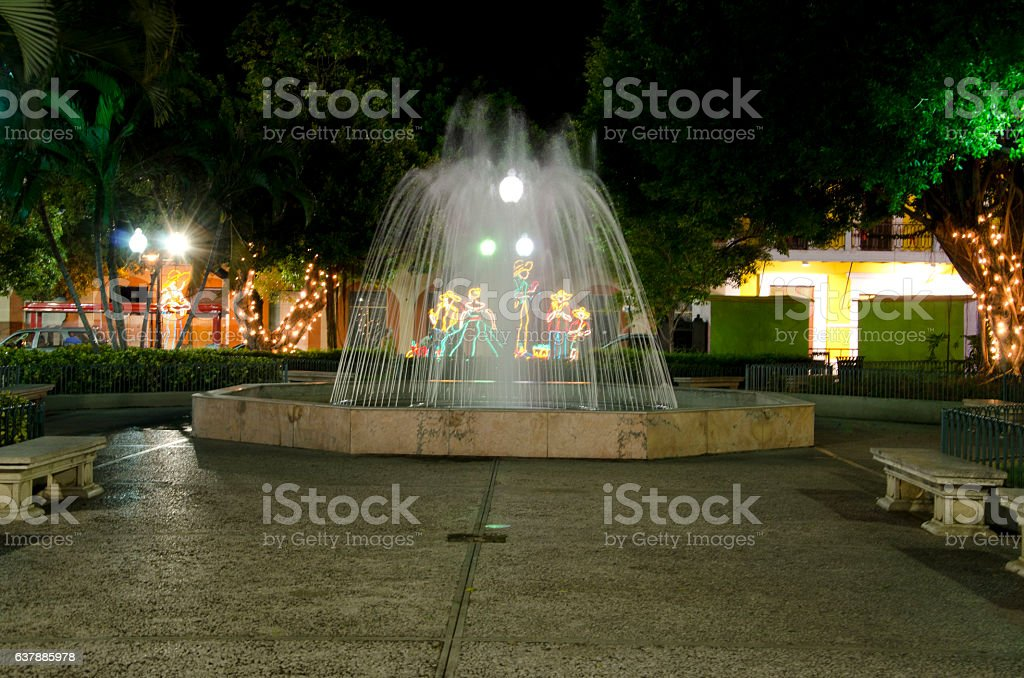 The Fountain in Christmas stock photo