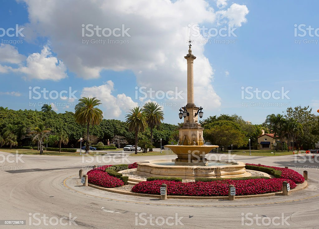The fountain in the square in coral Gables stock photo