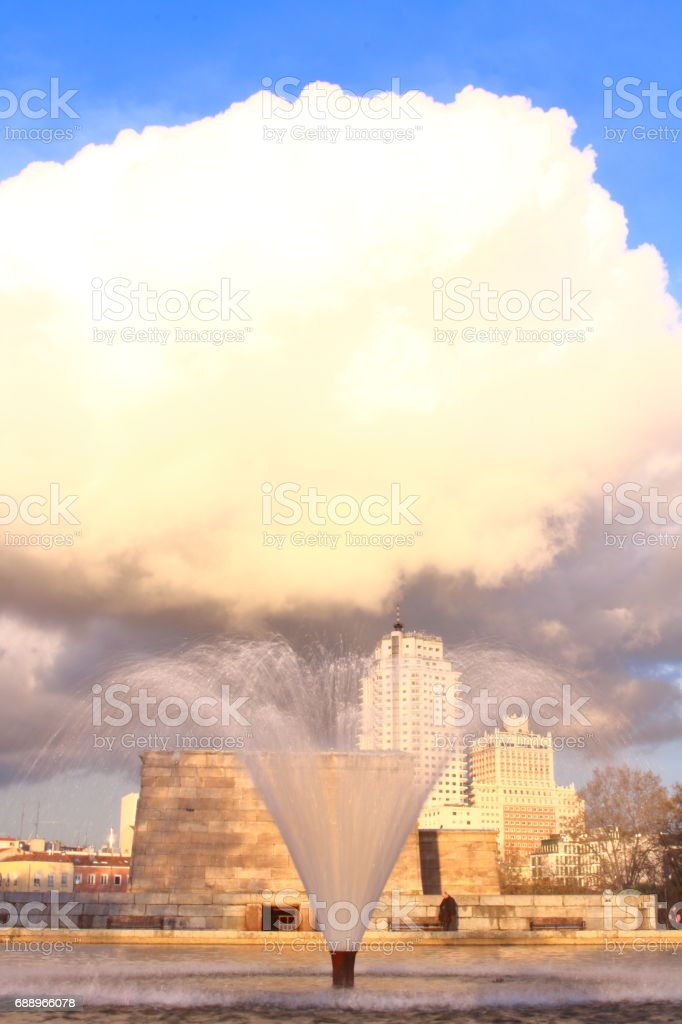 The fountain makes big cloud stock photo