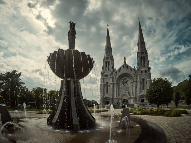 The fountain near the cathedral. stock photo
