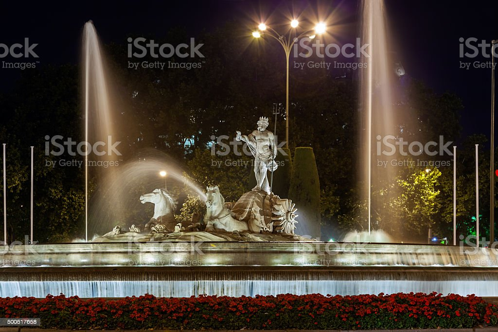 The fountain of Neptune in Madrid stock photo