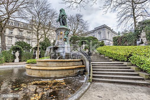 The fountain of the Counts of Egmont and Hornes on Petit Sablon square in Brussels, Belgium