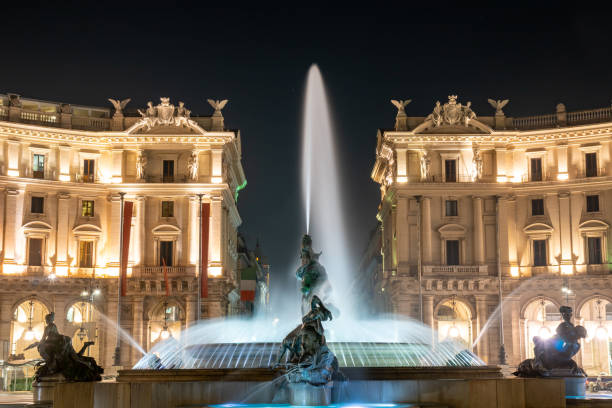 The Fountain of the Naiads and the Republic square in Rome at night. The Fountain of the Naiads and the Republic square in Rome at night. Travel. lazio stock pictures, royalty-free photos & images