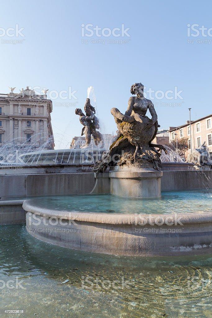 The Fountain of the Naiads on Piazza della Repubblica stock photo