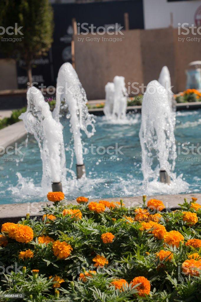 De fonteinen stromende bruisend water in een pool - Royalty-free Bel - Vloeistof Stockfoto