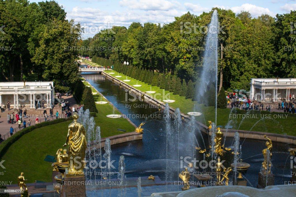 The fountains of the Grand Cascade in Peterhof. stock photo