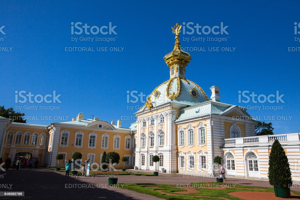 The fountains of the Grand Cascade in Peterhof. St.Petersburg stock photo